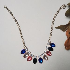 BOGO colorful teardrop necklace with rhinestones